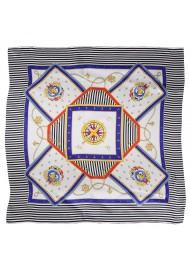 Striped Silk Scarf in Nautical Designer Print