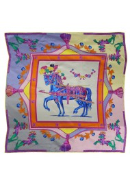 Designer Ladies Silk Scarf with Horse and Floral Print