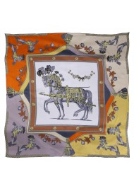Royal Horse Print Silk Scarf in Orange, Gold, and Grays