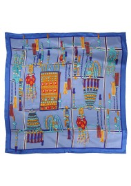 Tribal Jewelry Print Scarf in French Blue and Golden Orange