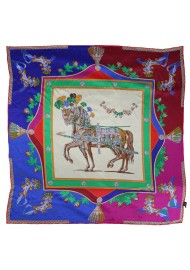 Red, Pink, and Blue Equestrian Print Silk Scarf