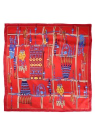Red Ladies Scarf with Ancient Tribal Jewelry Print in Gold
