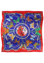 Navy and Red Silk Scarf with Flying Butterflies