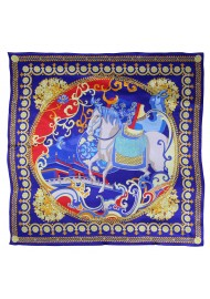 Persian Calvary Print Silk Scarf in Red, Navy, and Gold