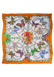 Summer Butterfly Print Silk Scarf in Orange and Cream