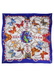 Navy Silk Scarf in Colorful Butterfly Print