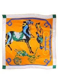 Modern Equestrian Print Silk Scarf in Deep Orange and Hunter Green