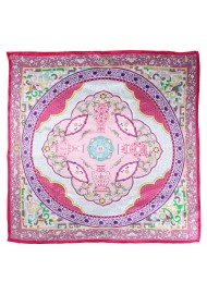 Pink and Cream Silk Scarf in Persian Design Print