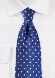 Polka Dot Silk Tie in Bright Blue and Silver