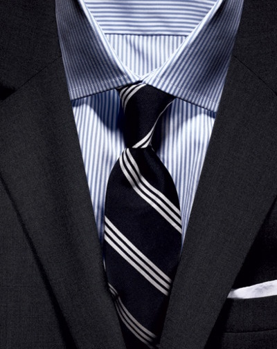 Black Strped Tie With Blue Shirt