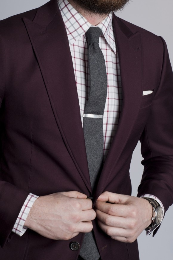 Look smart wearing tie bars for Wine colored mens dress shirts