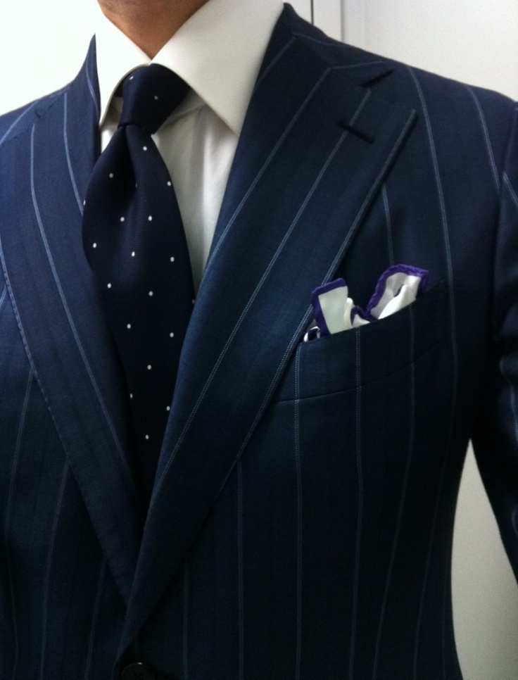Pinstriped Suit and Polk Dot Tie