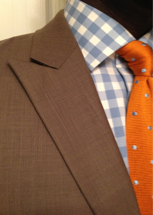 blue-gingham-shirt-orange-tie