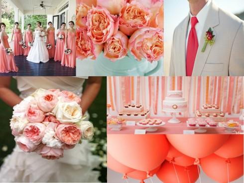 coral wedding neckties