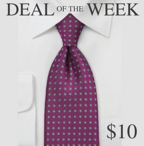 Wine Red and Gray Silk Tie For Sale