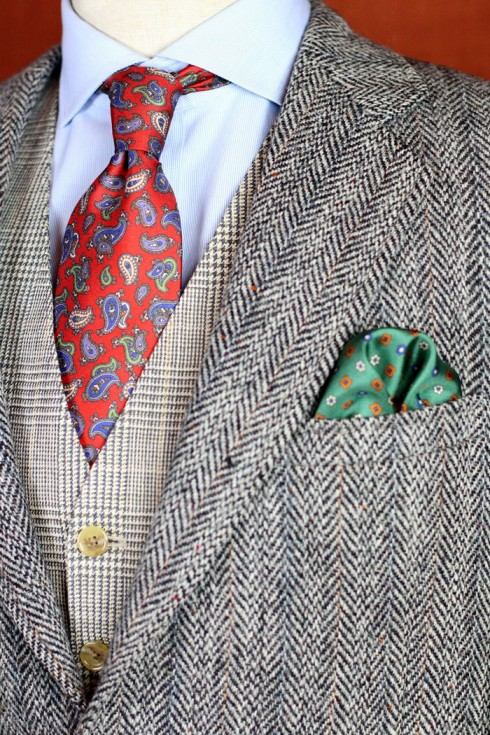 A sophisticated combination of paisleys and tweed with a lush green accent.