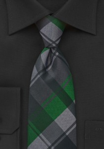 Graphic-Plaid-Tie-Green-Black