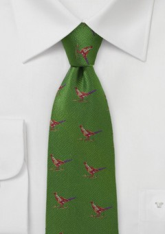 bird-hunting-necktie-green