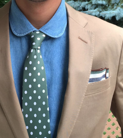 Designer Green + White Polka Dot Tie