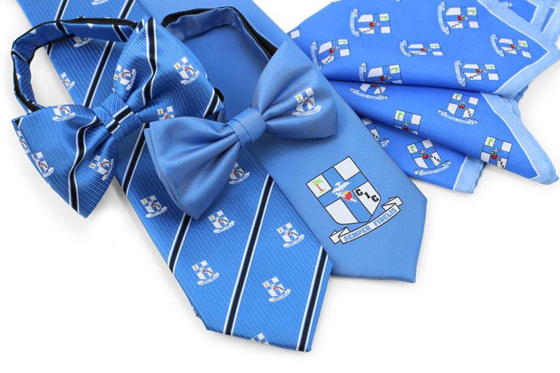 Logo neckties, bow ties, pocket square