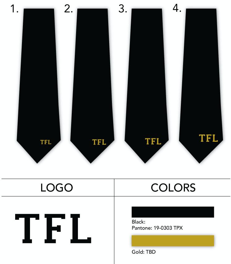 metallic gold logo neckties