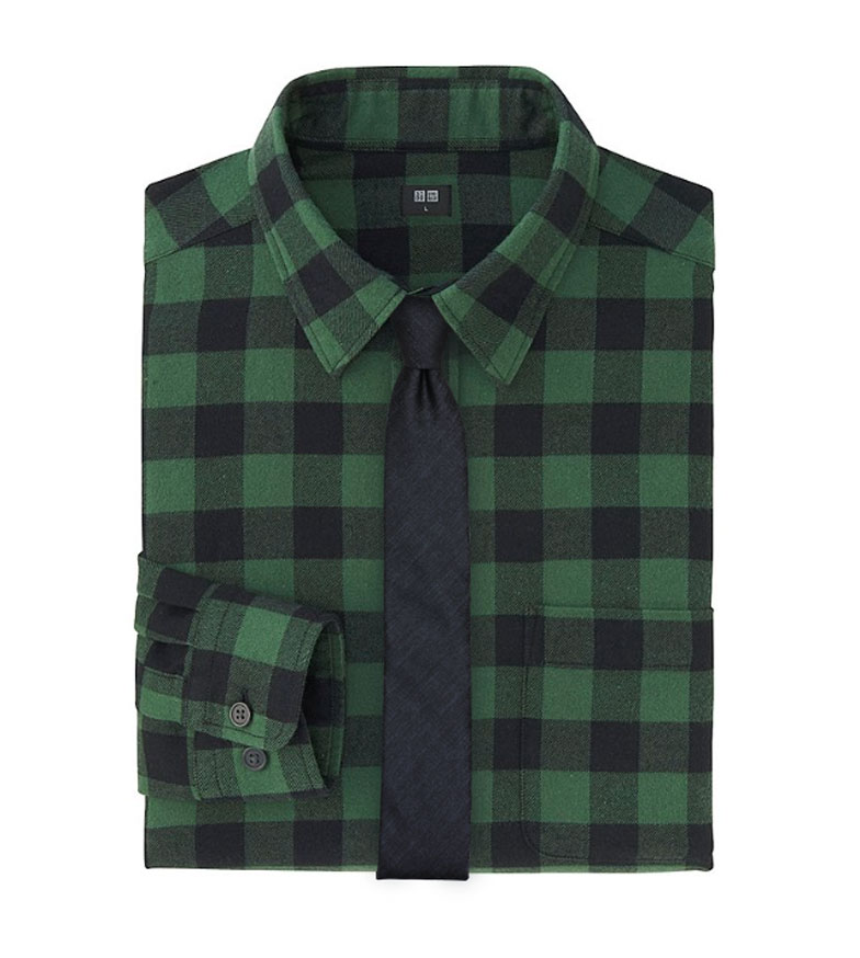 Mens Fall Flannel Shirt with Necktie