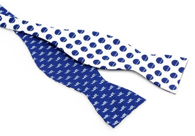 Custom double sided self tied bow ties with logo