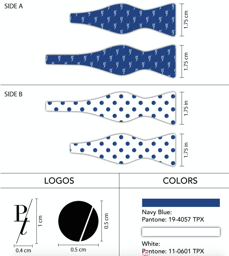 double sided custom bow ties