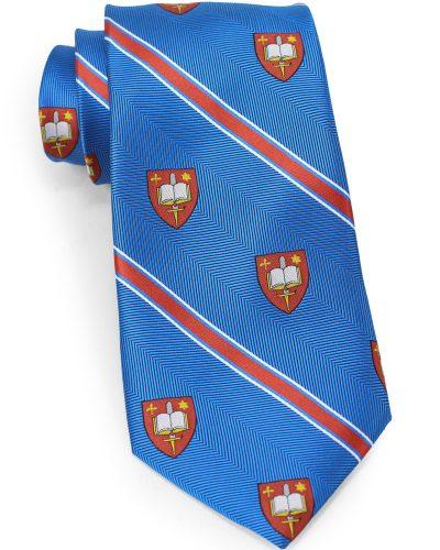 Woven Logo Tie in Bright Blue with Herringbone Design