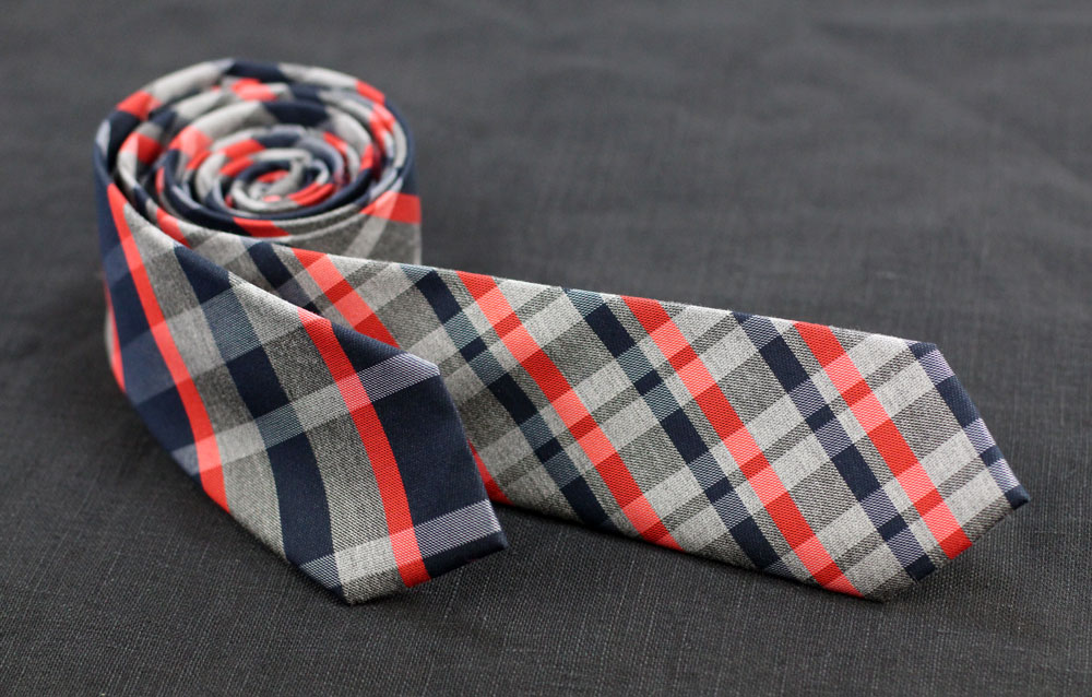 Winter Neckties in Red, Grey, Navy Plaid
