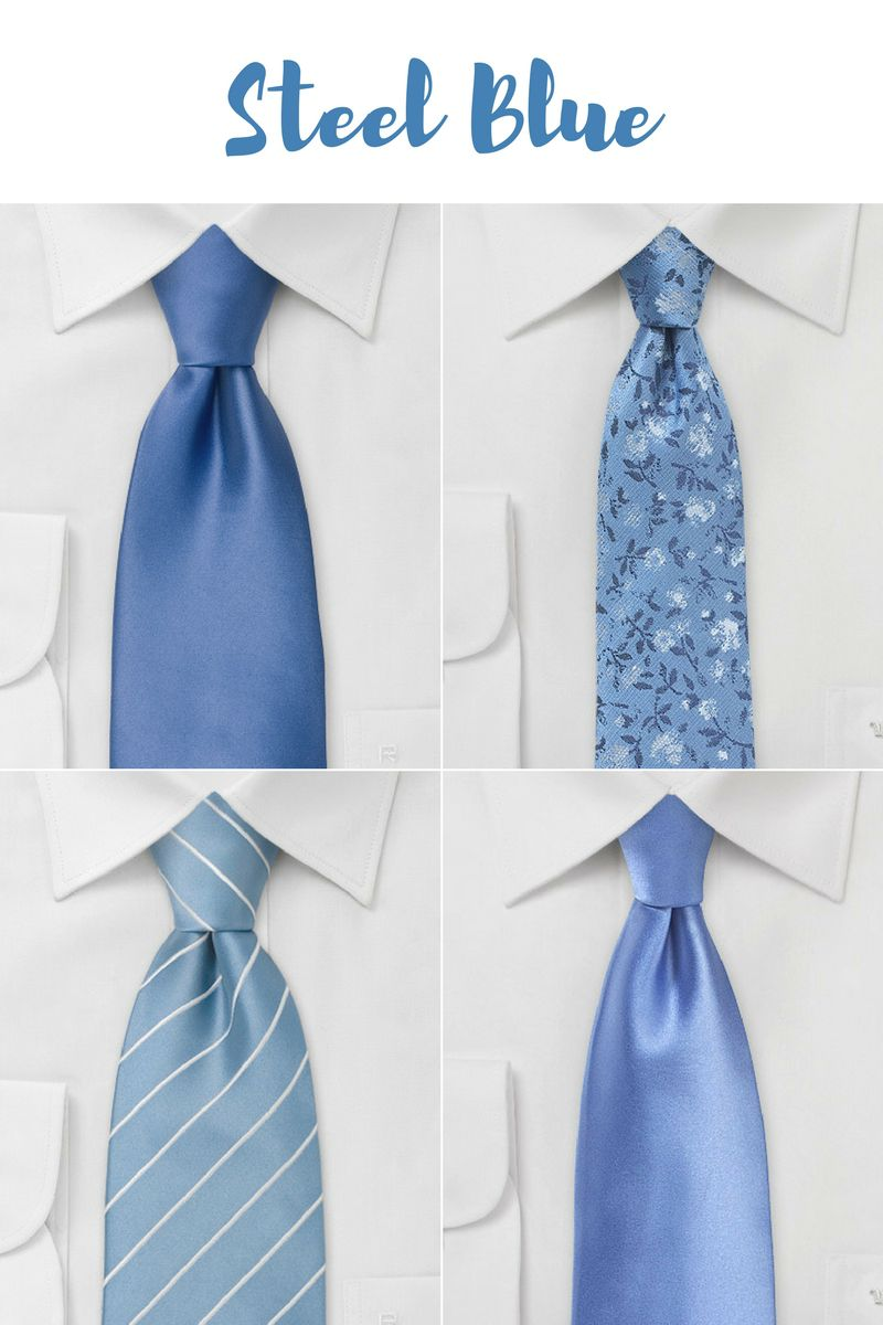 Spring & Summer Wedding Neckties in Steel Blue