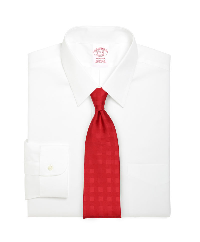 Bright Red Necktie with Gingham Checks