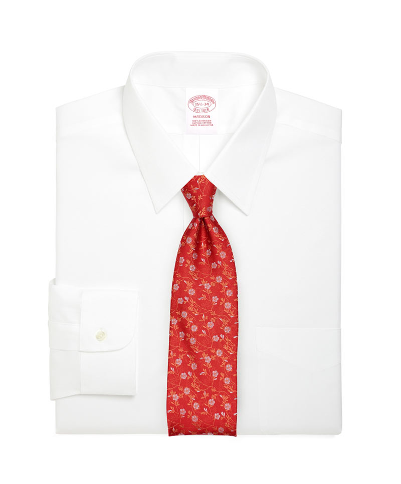 Flower Design Tie in Bright Red