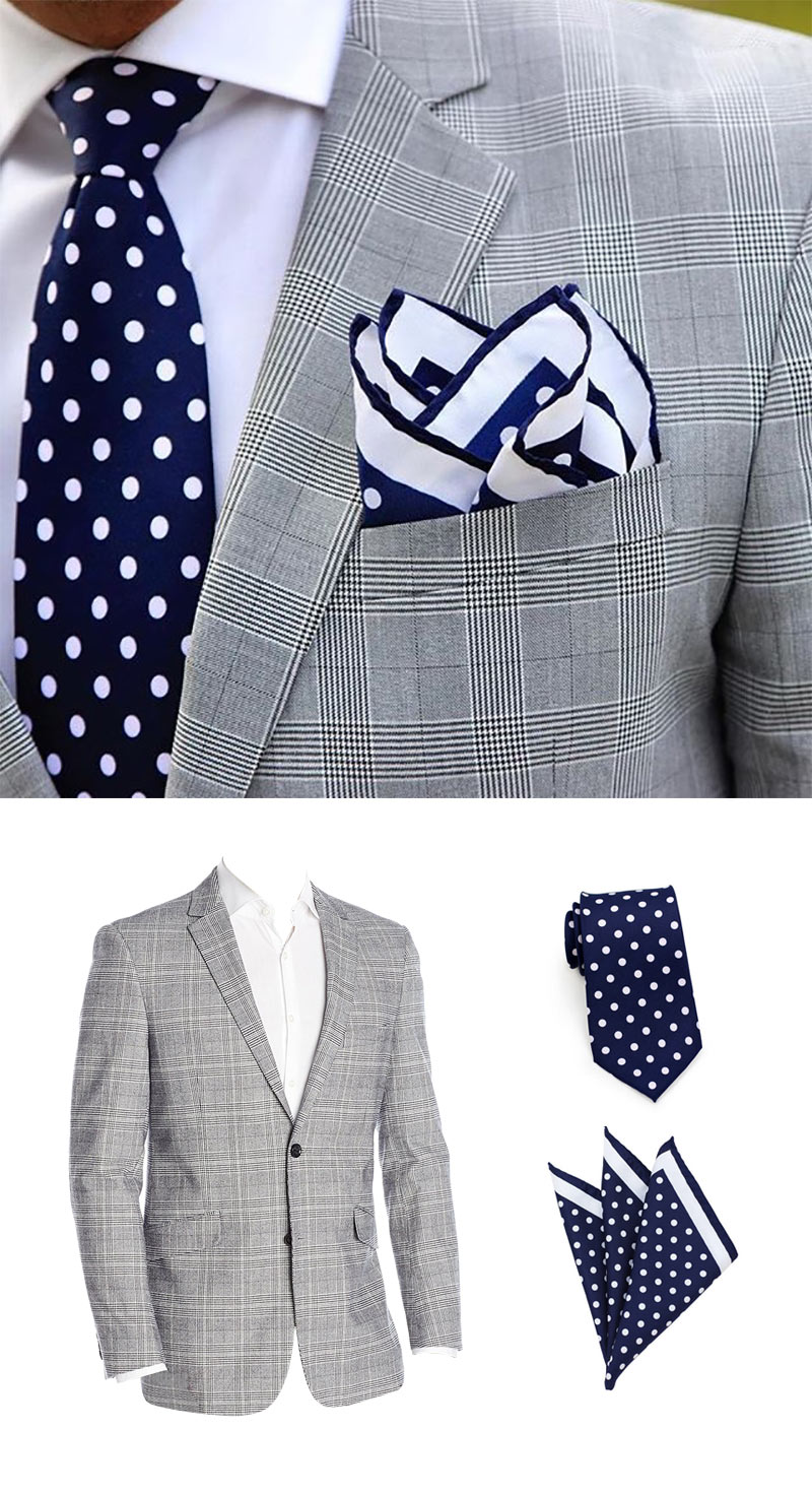 Men's Fashion - Grey Jacket with Navy Dot Necktie