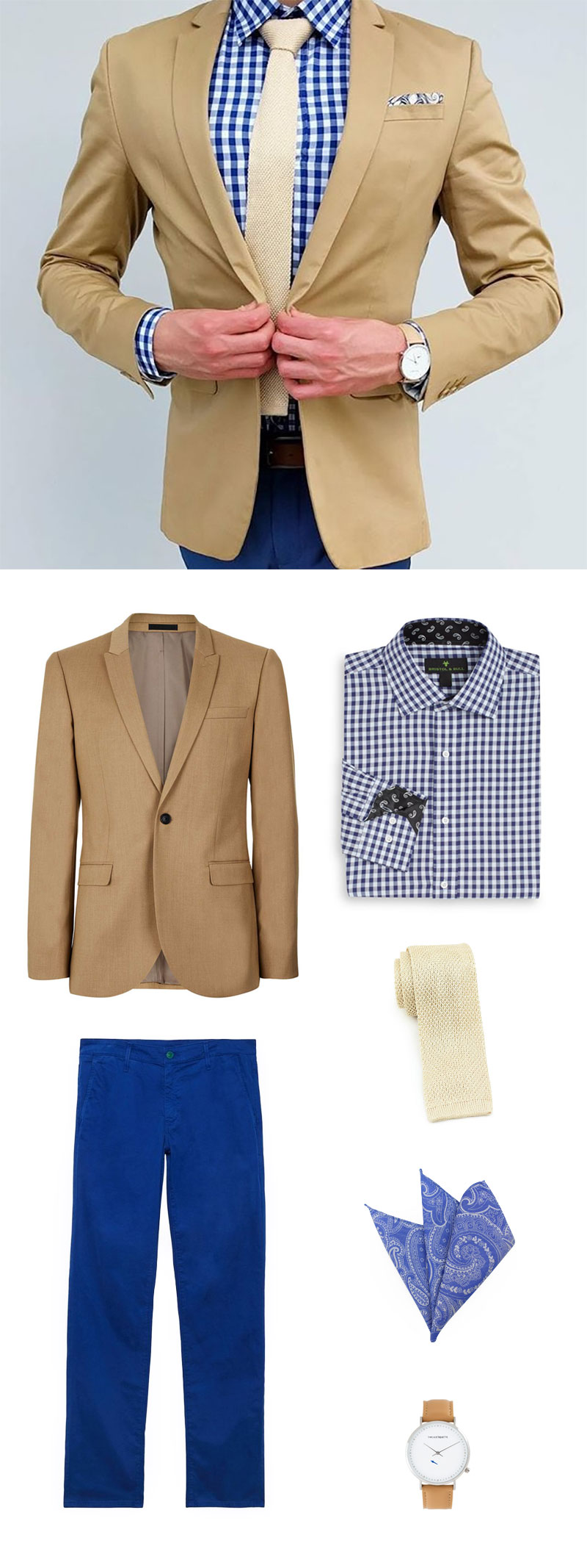 Shop This Look: Golden Cream Knit Tie + Gingham Check Shirt