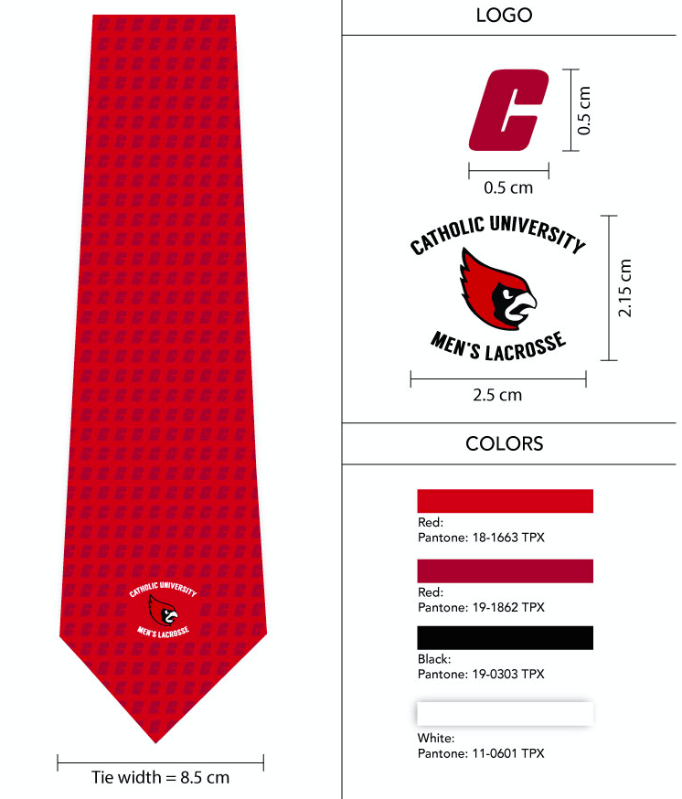 custom necktie spec sheet