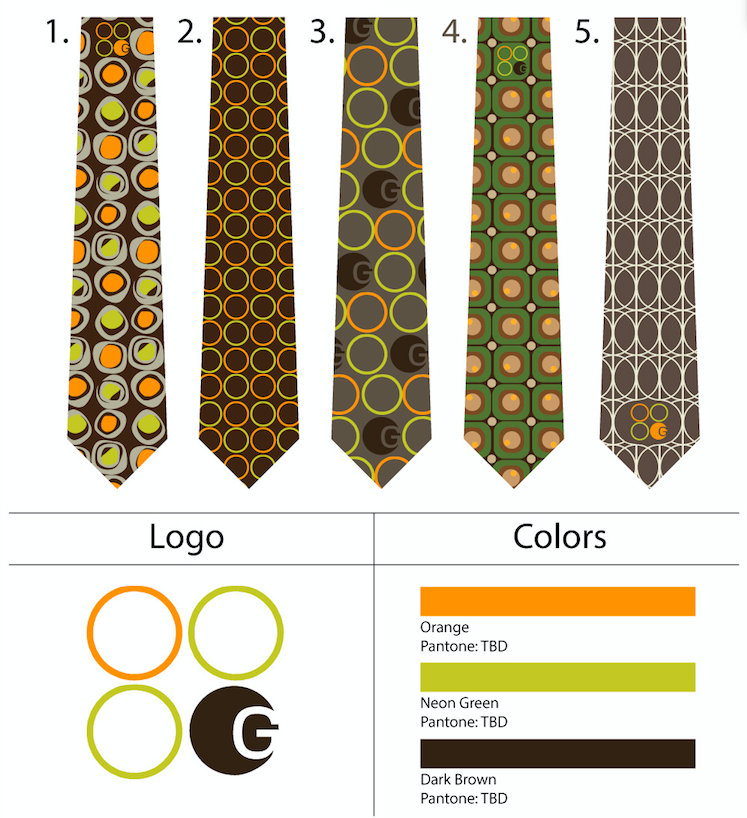 custom retro design skinny ties