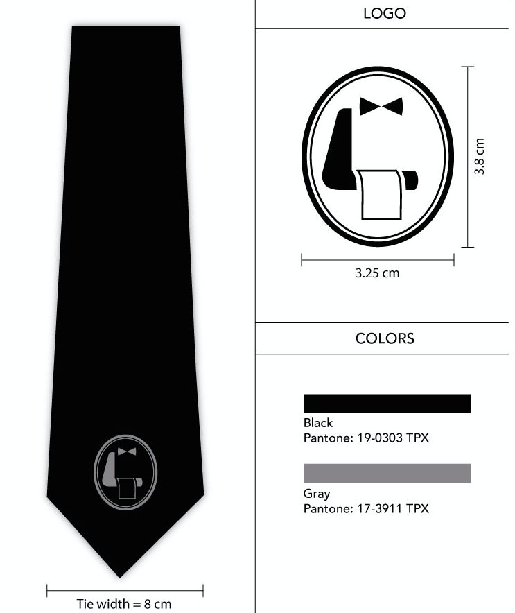 black logo neckties