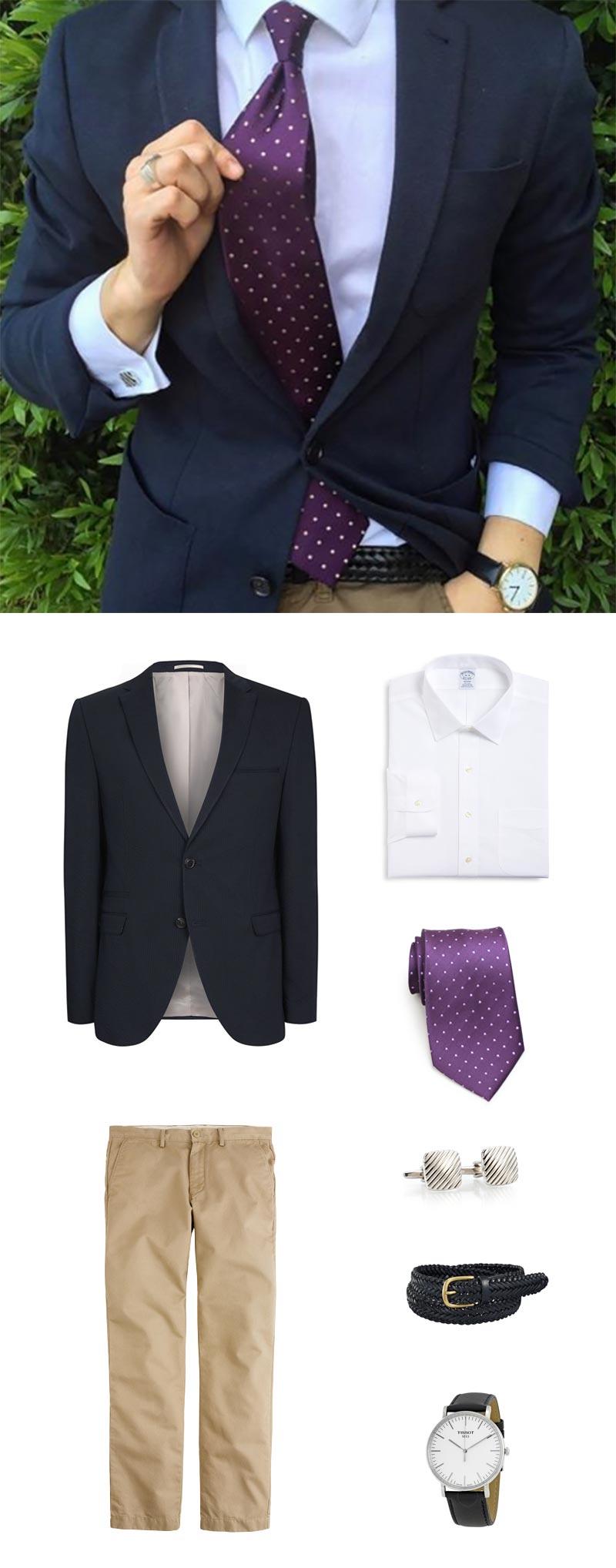 Menswear Classics - Navy Jacket + Small Dot Purple Necktie