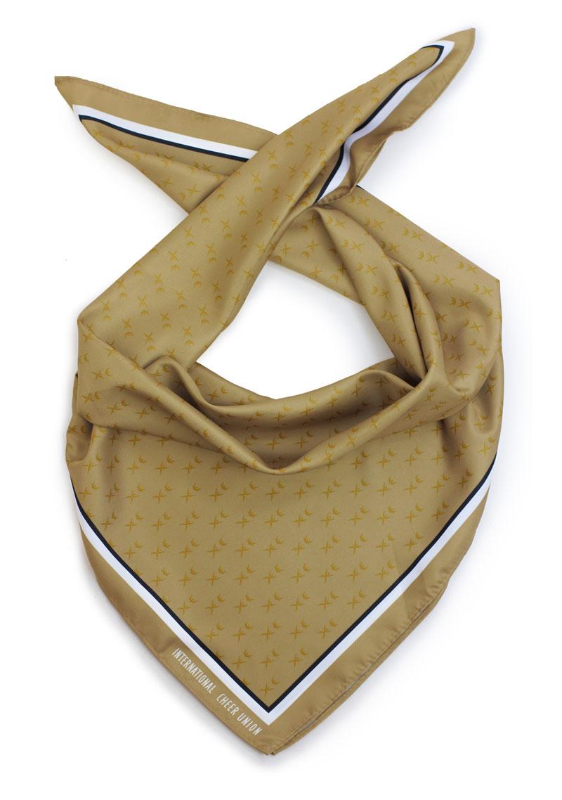 custom logo printed scarves in gold color