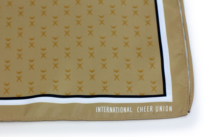 custom printed scarves in gold with logo
