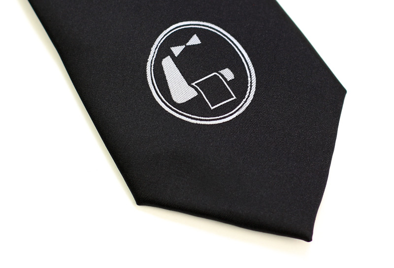 custom logo tie in black