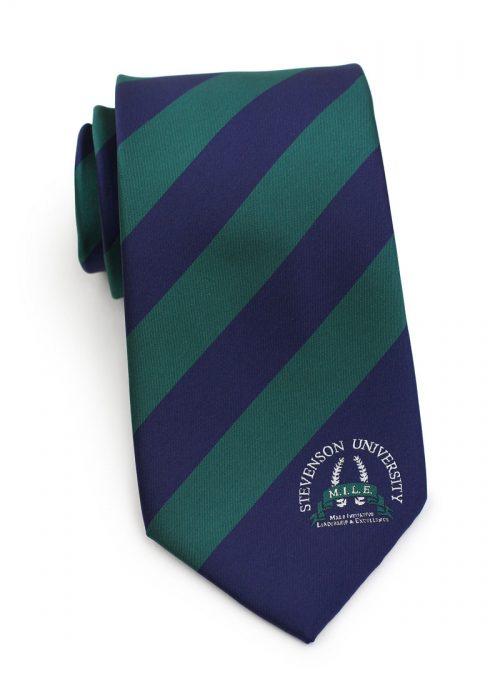 Custom Striped Necktie with School Logo