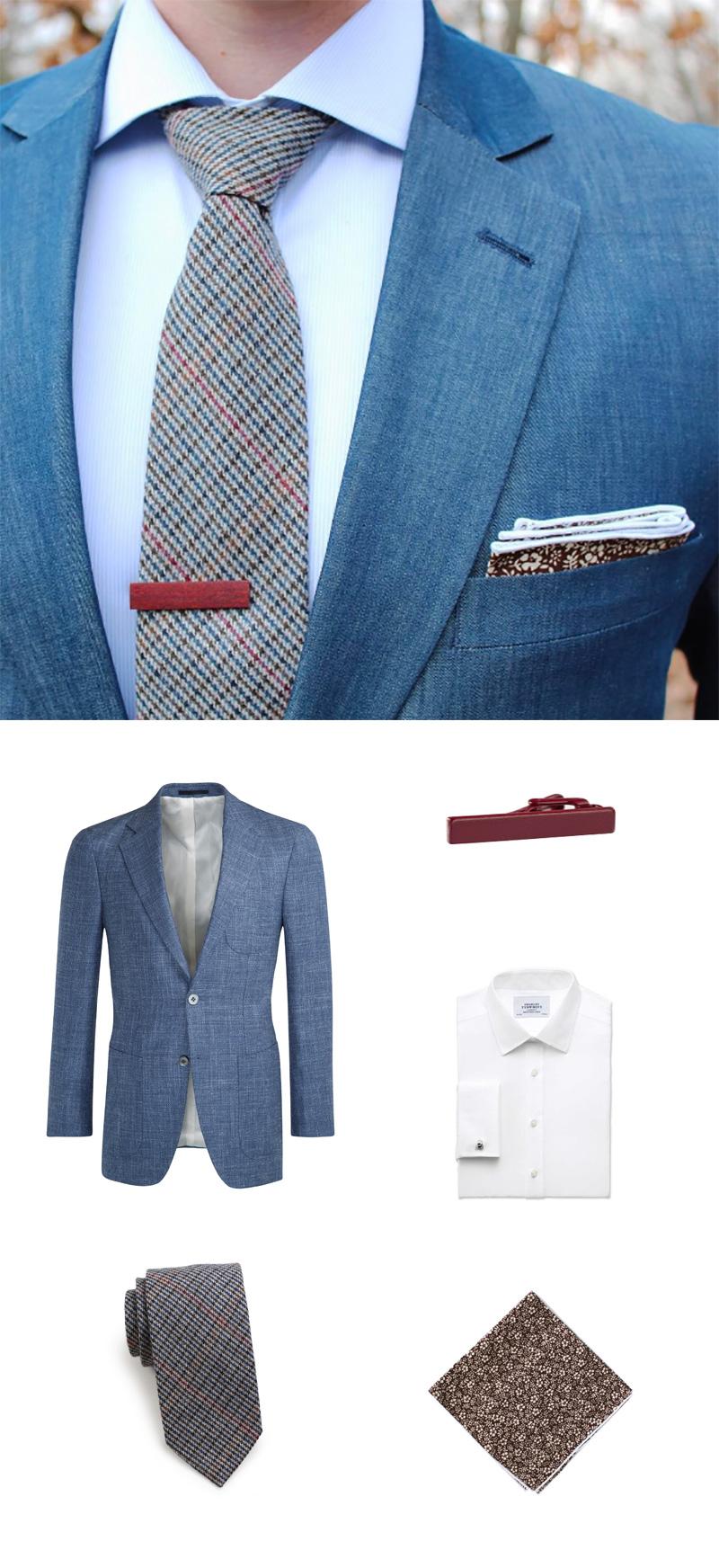 Mens Summer Style - Trendy Blue Jacket + Skinny Check Necktie