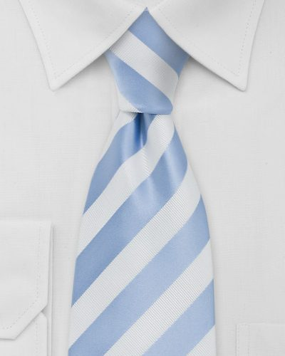 Mens Striped Tie in White and Powder Blue