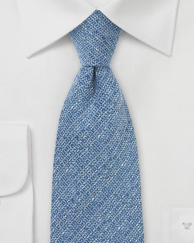 Mens Barleycorn Silk, Wool Blue Necktie