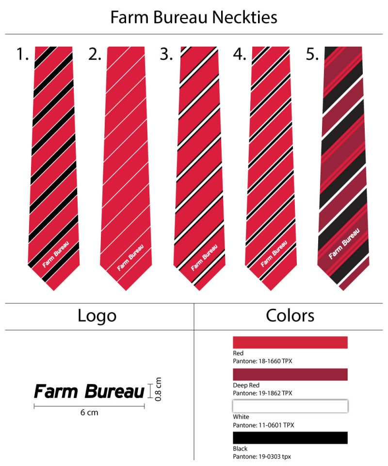 Red striped logo Neckties