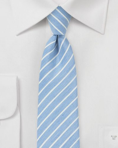 Sky Blue Linen Striped Mens Tie