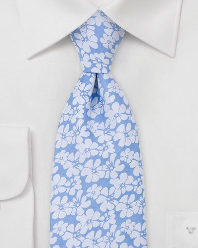 Floral Necktie in White and Light Blue