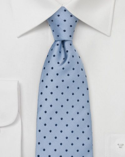 Trendy Powder Blue Necktie with Navy Dots